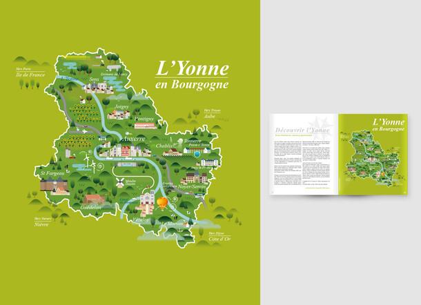 Carte illustrée de l'Yonne (Bourgogne)