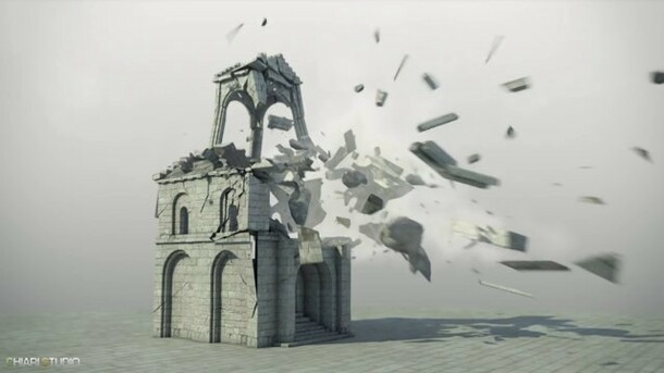 Minas Tirith building destruction