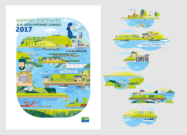 "Illustrations (cover & interior) Activity Report of the ""Voies Navigables de France"""