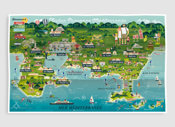 Toulon Provence Méditerranée Carte illustrée